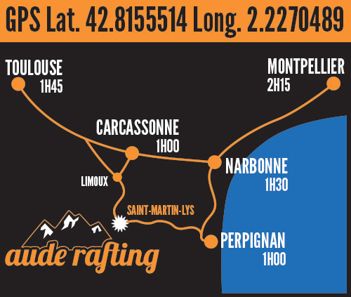 Aude Rafting map